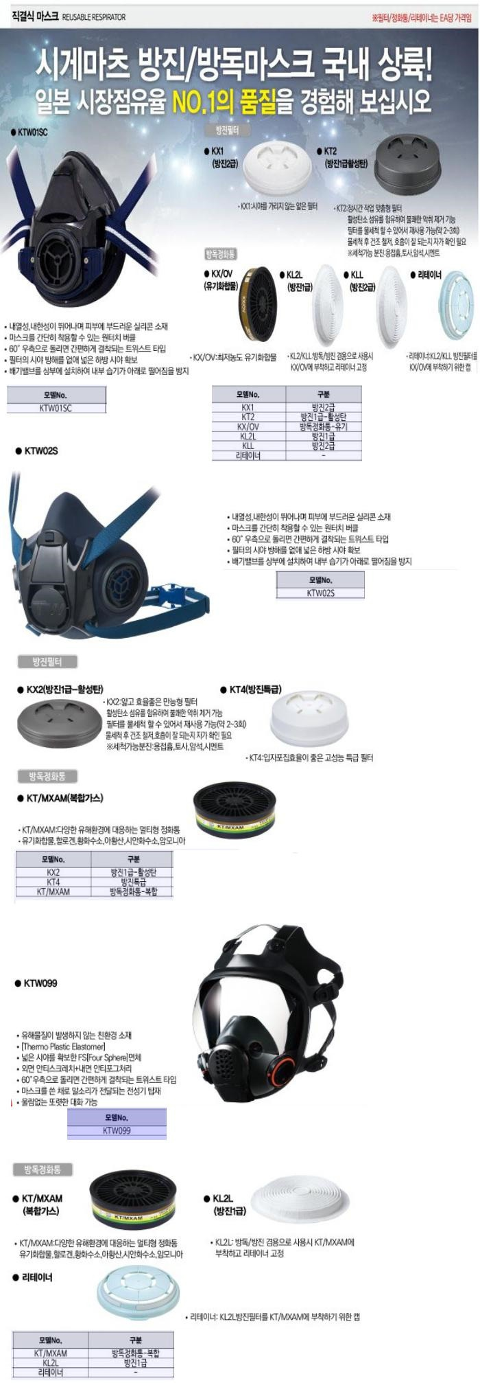 직결식마스크 KTW02S 크린탑 제조업체의 호흡/청력보호구/방독마스크 가격비교 및 판매정보 소개