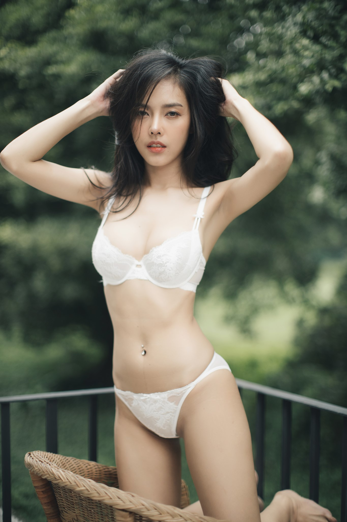cool Asian girl wearing lingerie
